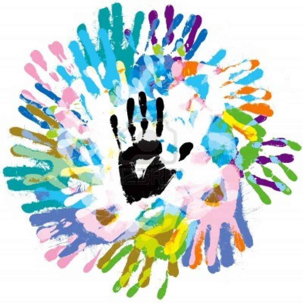 gekleurde handafdruk